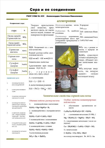 кроссворды по химии соединения серы