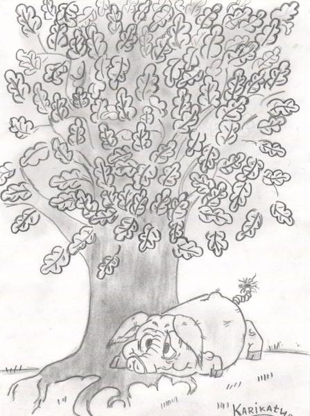 Картинка свинья под дубом басня нарисовать