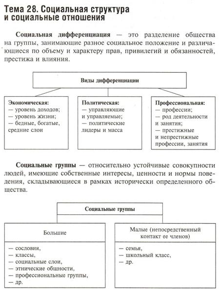 Разделение общества на группы занимающие