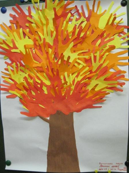 фото дерево из бумажных ладошек
