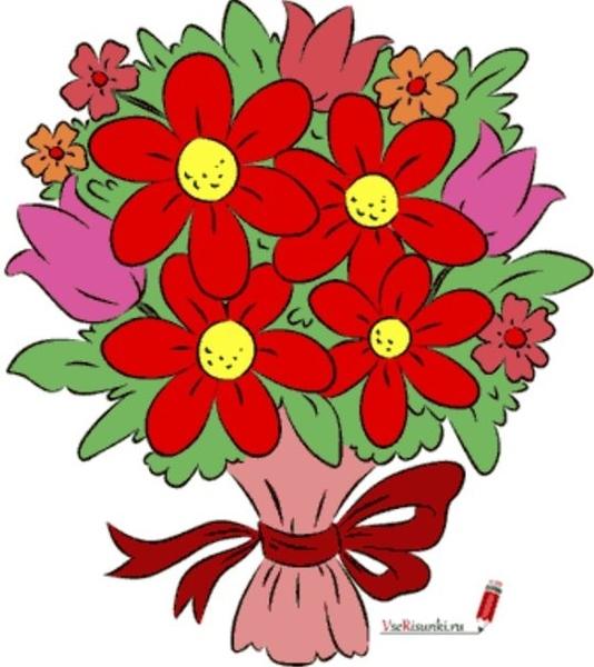 Роз, картинки букет цветов мультяшный
