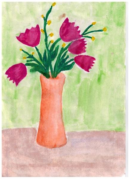 Рисунок для начальных классов цветок в вазе цветная