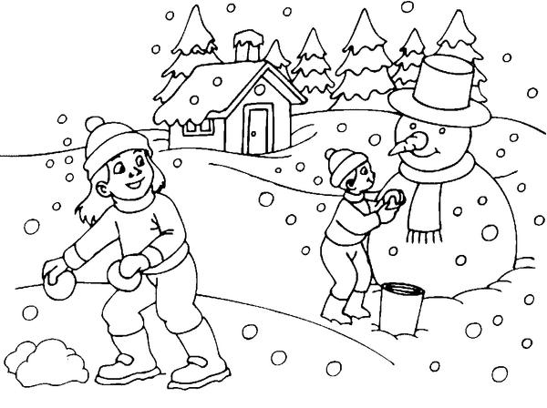 Раскраска Зимний Пейзаж | 448x600