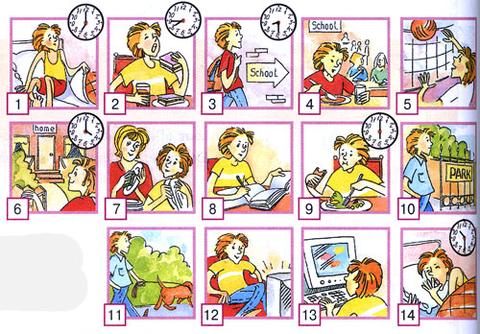 тема мой день на английском в картинках объяснили, что