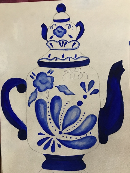 Рисунки гжель картинки посуда